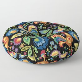 Polish Folk Roosters Floor Pillow