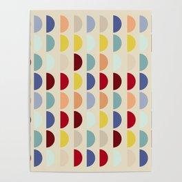 Semi circles multicolor geometric interior design Poster