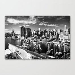 Sydney City and Barangaroo View from Darling Harbour in Black and White Canvas Print
