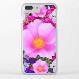 MODERN ART FUCHSIA ROSES  WHITE FLORAL GARDEN Clear iPhone Case