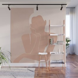 Minimal illustration of a Woman Wall Mural