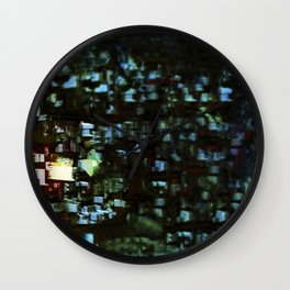 Abstract city geometric digital painting Wall Clock