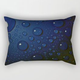 Midnight Blue to Stars in Droplets Polka Dots Rectangular Pillow