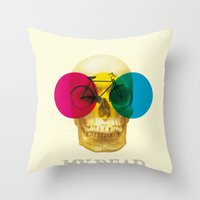 cycle Throw Pillows featuring CYCLE by Nazario Graziano