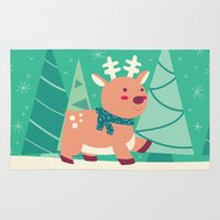 reindeer Area & Throw Rugs featuring Reindeer by Claire Lordon