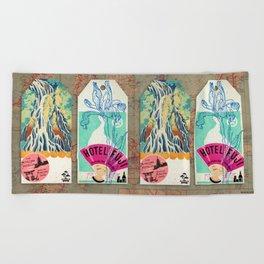 Label Fables, Japan I :: Fine Art Collage Beach Towel