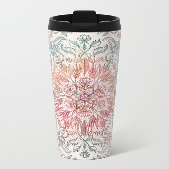 Autumn Spice Mandala in Coral, Cream and Rose Metal Travel Mug
