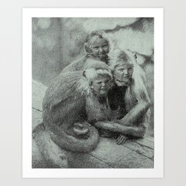 Monkey Children Art Print