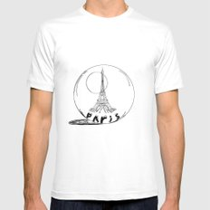 paris in a glass ball White Mens Fitted Tee MEDIUM