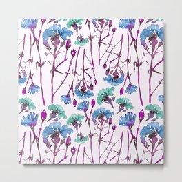 Carnation blue flory pattern design Metal Print