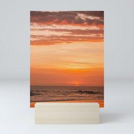 Sky on Fire   Tropical Beach Sunset on Bali, Indonesia Mini Art Print