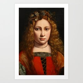 """Giovanni Antonio Boltraffio """"Youth crowned with flowers"""" Art Print"""