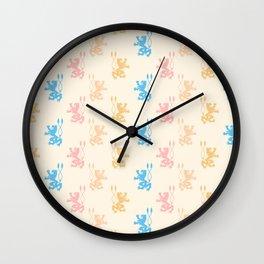 Vintage chic pink blue yellow lions damask pattern Wall Clock