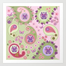 Retro paisley shapes with cute owls and flowers Art Print