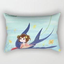 Spring Animal And Girl Rectangular Pillow