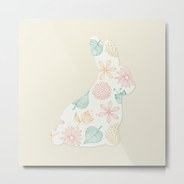 Playboy White Rabbit Flower Metal Print