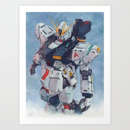 Nu Gundam watercolor Art Print