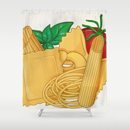 the real italian Pasta food with basil and tomato Shower Curtain