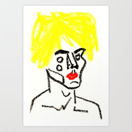 man with yellow hair Art Print