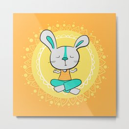 Yoga animals - Rabbit in lotus pose Metal Print