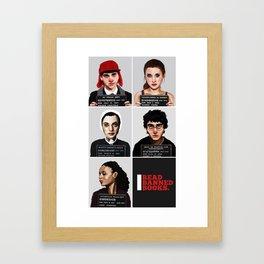 Banned Books Mugshots (Black) Framed Art Print