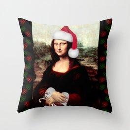 Mona Lisa Wearing a Santa Hat Throw Pillow