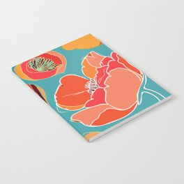Turquoise California Poppies Notebook