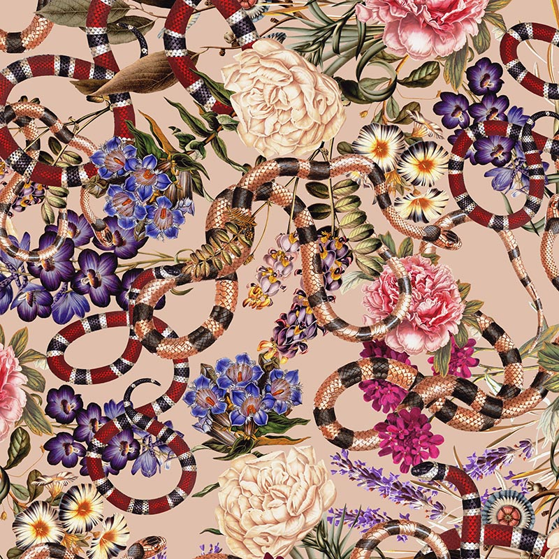 ornate pattern with flowers and snakes