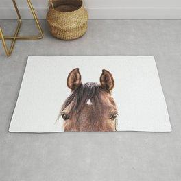 peekaboo horse, bw horse print, horse photo, equestrian, equestrian photo, equestrian decor Rug