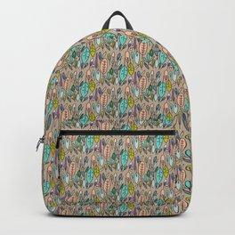 Fun Foliage + Feathers | Tan Backpack