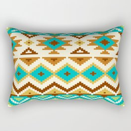 Native Aztec Brown Tribal Rug Pattern Rectangular Pillow