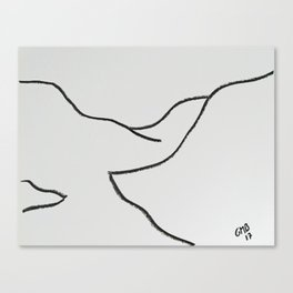 A Minimalist Charcoal Drawing of Cajon del Maipo in Chile Canvas Print