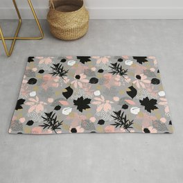 Abstract maple leaves autumn in pink and gray colors Rug