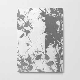 Gray Traces Abstract Botanical Metal Print