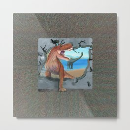 Dinosaur has Broken Through the Wall Metal Print