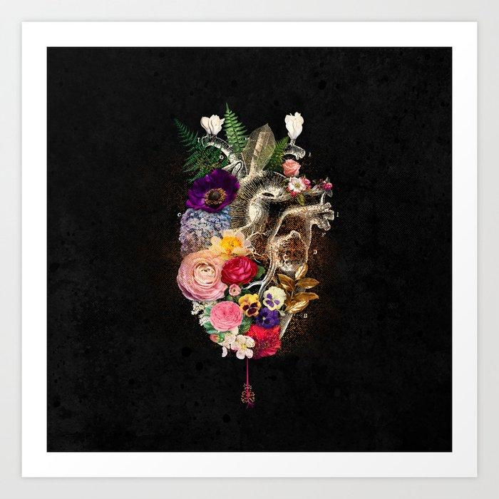 Dark Flower Heart :: Fine Art Collage Art Print