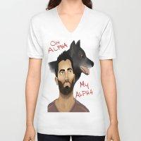 derek hale V-neck T-shirts featuring Derek Hale - Oh Alpha, my Alpha by LittleMagicFox