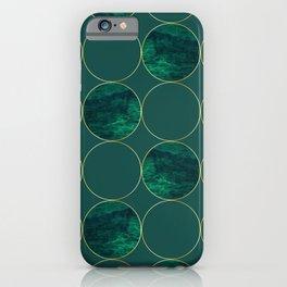Emerald Marble Geometric Golden Circular Pattern iPhone Case