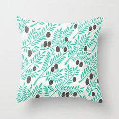 Olive Branches – Turquoise & Black Palette Throw Pillow