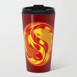 Red and Yellow Yin Yang Koi Fish Travel Mug