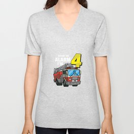 Sound The Alarm I´m 4 Birthday Gift For Boys Girl And Kids Unisex V-Neck