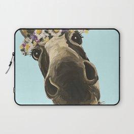 Blue Flower Crown Donkey, Donkey Art Laptop Sleeve