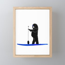 Gorilla Paddles on the Ocean - West Coast Paddle Boarding Framed Mini Art Print