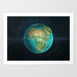 Globe: Physical Africa Art Print