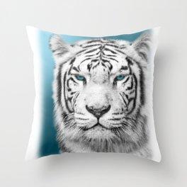 Blue Eyed White Tiger Throw Pillow