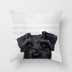 Black Schnauzer original painting print Throw Pillow