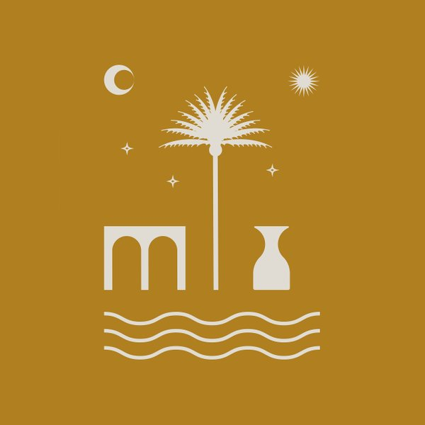 illustration of a palm tree, river, and the stars