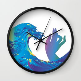 Hokusai Rainbow & Hand Wall Clock
