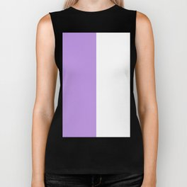 White and Light Violet Vertical Halves Biker Tank