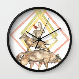 AZTEC Animals with Diamonds Wall Clock